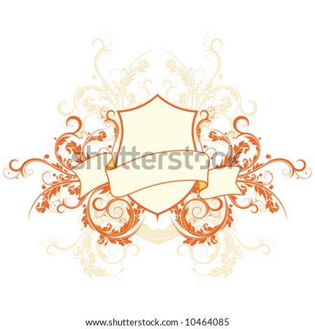 Vector retro style shield and banner with flowers - stock vector