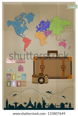 Vector retro style, sketched world map, landmark and travel background on crumpled paper - stock vector