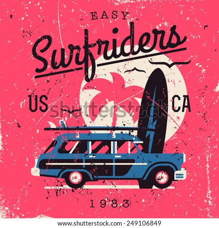 Vector retro style weathered Surfriders t-shirt graphics design featuring surf woodie car, palm silhouette and seagulls with shabby textures on separate layers | Vintage wall art poster on surfing  - stock vector
