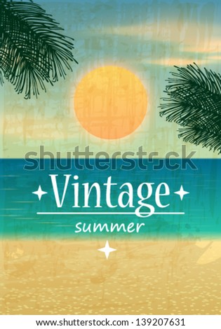 Vector retro summer background illustration with ocean, palm leaves, beach and sunset - stock vector