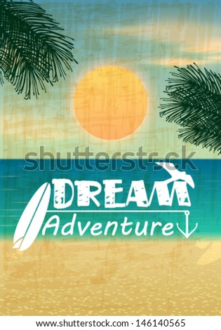 Vector retro summer background illustration with text, ocean, palm leaves, beach and sunset - stock vector