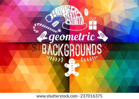 Vector retro supply, hipster background.Retro styled badges, signs.Banner. Vintage Insignias. Backdrop. Geometric. Christmas typographic. label  Xmas,New Year design. Calligraphic vector decoration. - stock vector