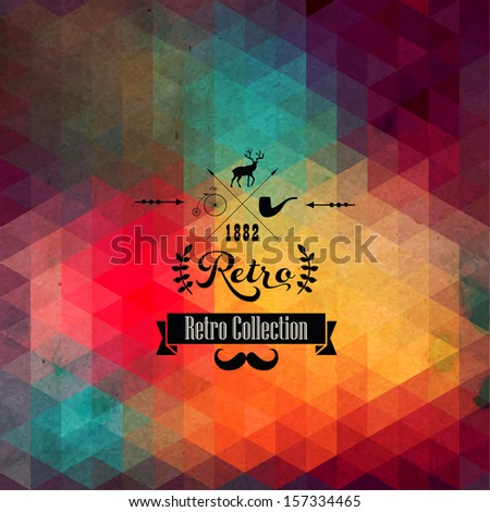 Vector retro supply on hipster background made of triangles. Retro styled badges, signs. Vintage. Backdrop. Geometric background. Backdrop. Geometric. Typographic label. Laurel. Arrows. - stock vector