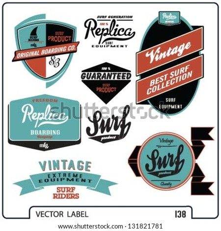 Vector Retro Surf And Banner Label Set
