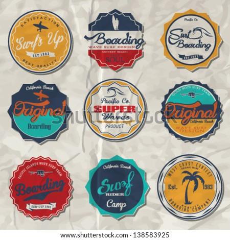 vector retro surf label set. - stock vector