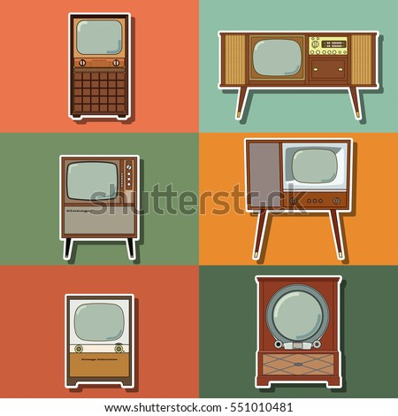 Vector Retro Television Set TVs of the Forties Retro Technology Stickers