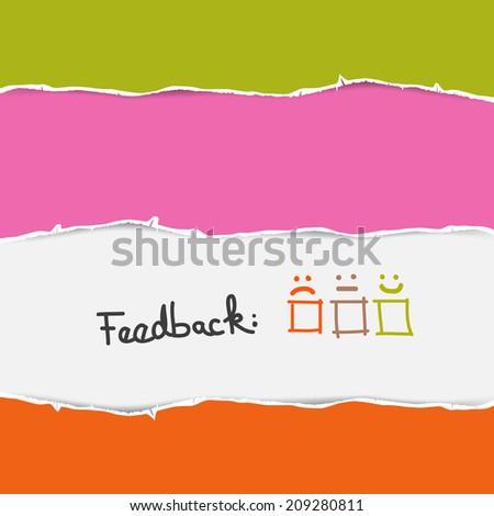 Vector Retro Torn Paper Feedback Background Template  - stock vector