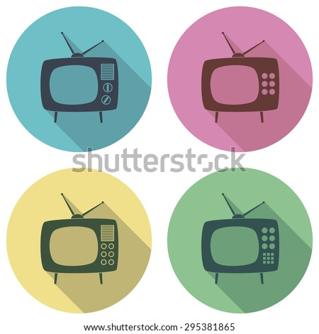 vector retro tv set flat colorful icons - stock vector