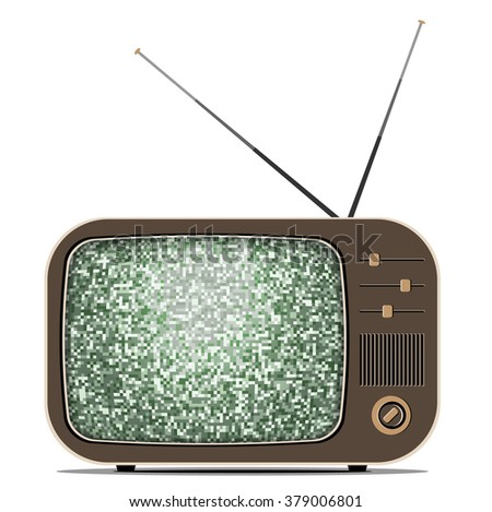 Vector retro TV (Television) with a noise - stock vector
