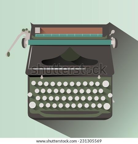 Vector retro typewriter. Flat style.  - stock vector