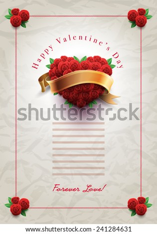 Vector retro Valentine's Day greeting design template with roses and wrinkled paper background. Elements are layered separately in vector file. - stock vector