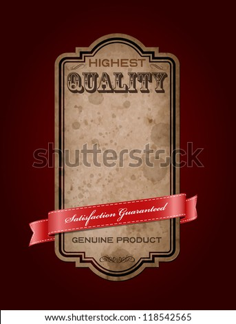 """Vector retro vintage old label with texture and stains, decorated with red satin ribbon. """"Premium Quality Guaranteed"""" - stock vector"""