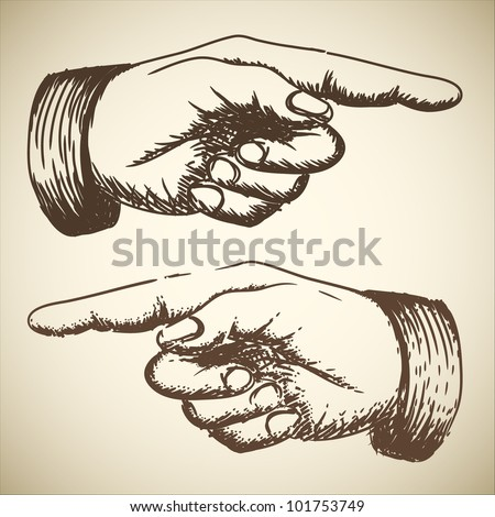 Vector retro Vintage pointing hand drawing - stock vector