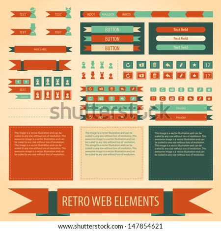 Vector retro vintage web elements set. Labels, banners and emblems. Collection for design. - stock vector