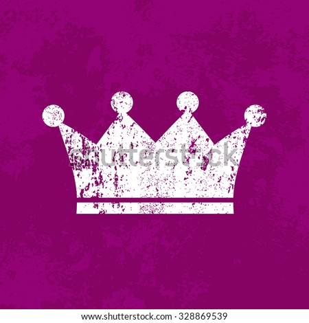 Vector retro weathered crown icon over old purple grungy background
