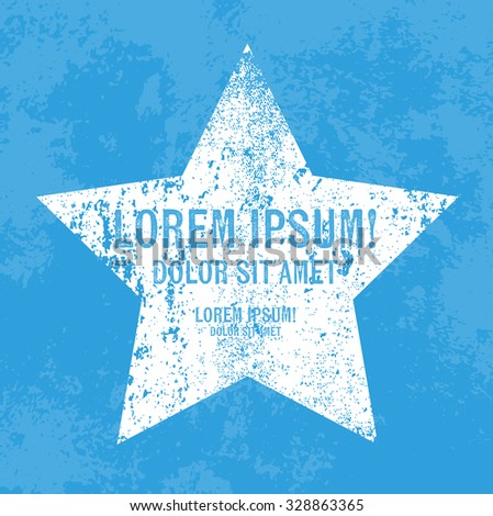 Vector retro weathered star label over old blue grungy background - stock vector