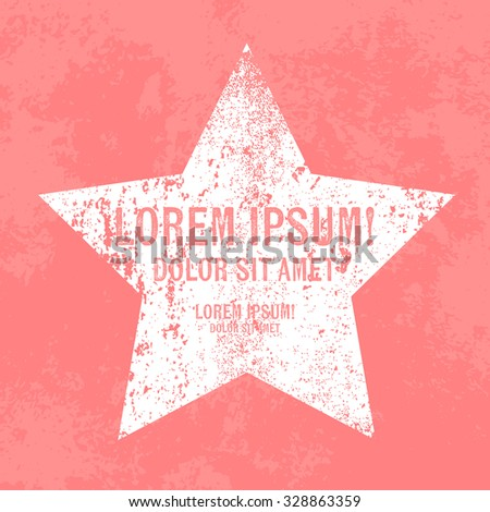 Vector retro weathered star label over old pink grungy background - stock vector