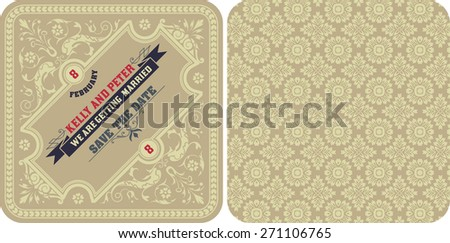 Vector. Retro wedding card - stock vector