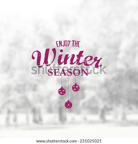 Vector Retro Winter banner typography. Winter Label with christmas decoration in blurred landscape background.  - stock vector