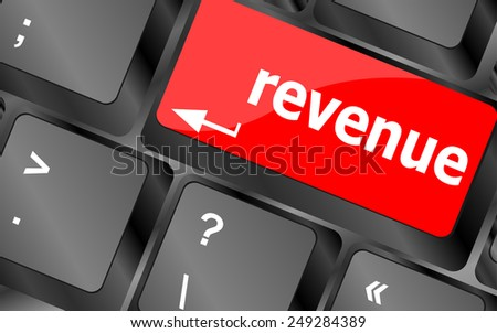 vector Revenue button on computer keyboard - stock vector