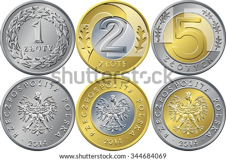 vector reverse and obverse Polish Money one, two and five zloty gold and silver coins with Value and eagle in golden crown - stock vector