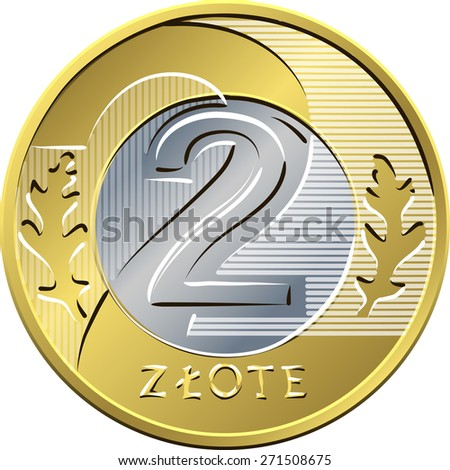 vector reverse Polish Money two zloty gold and silver coin with eagle in a golden crown - stock vector