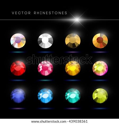 Vector rhinestone gem mock up. Jewelry crystal stone diamond shining illustration. Close up. Rhinestone isolated. Gradient soft light. Glass gem mock illustration. Jewelry advertising, pattern element - stock vector