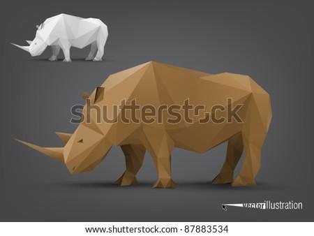 Vector rhino stylized triangle polygonal model - stock vector