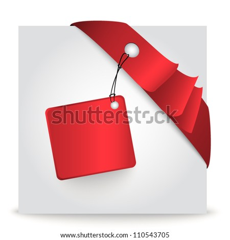 Vector ribbon corner with sticker - stock vector