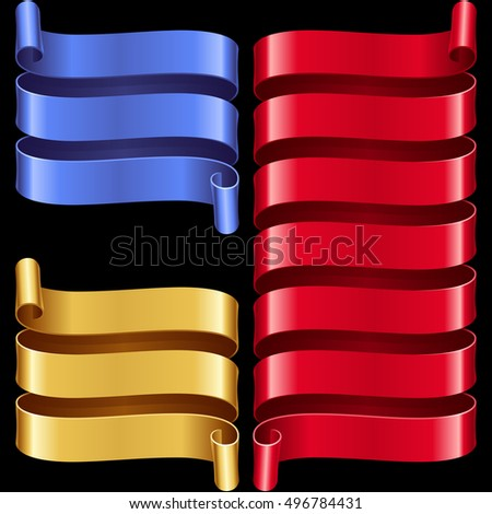 Vector ribbon frames set. Blue, yellow and red banners isolated on black background