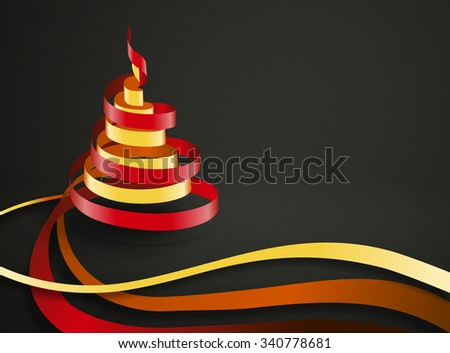 Vector ribbons curling in a form of Christmas tree with space for your text - stock vector