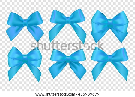 Vector Ribbons set for Christmas gifts. Blue gift ribbons and bows for New Year celebrate and birthday. Isolated design elements.  - stock vector