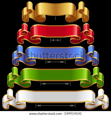 Vector Ribbons set 14. Varicolored banners isolated on black background - stock vector