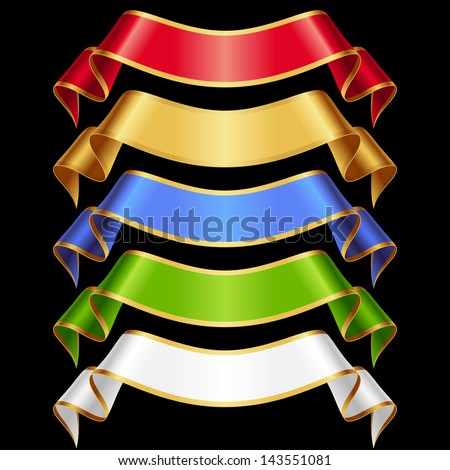 Vector Ribbons set 11. Varicoloured banners isolated on black background - stock vector
