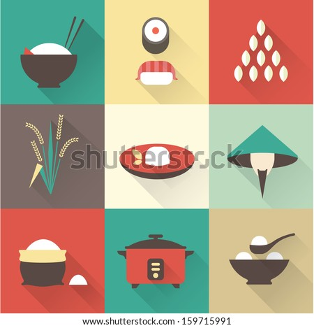 Vector rice icons - stock vector