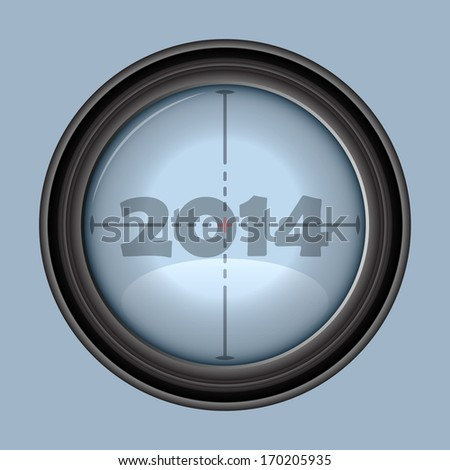Vector rifle scope crosshair - year 2014  - stock vector