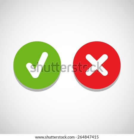 Vector right and wrong check mark - stock vector