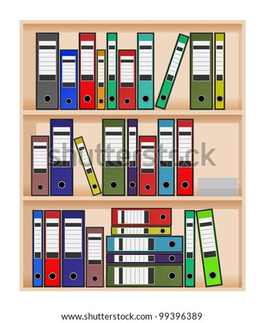 vector ring binders in office shelf,eps10 vector, transparency used, raster version available - stock vector