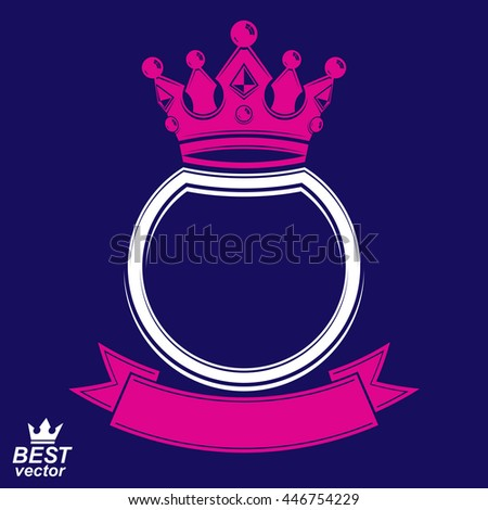 Vector ring with 3d imperial crown and festive ribbon, luxury coat of arms. Heraldic symbol, best for graphic and web design. Monarch theme. - stock vector