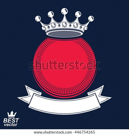 Vector ring with 3d imperial crown and festive ribbon, luxury coat of arms. Heraldic symbol, best for graphic and web design. - stock vector