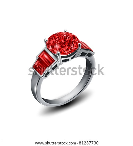 vector ring with red diamond - stock vector