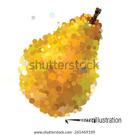 Vector ripe pear that consists of circles - stock vector