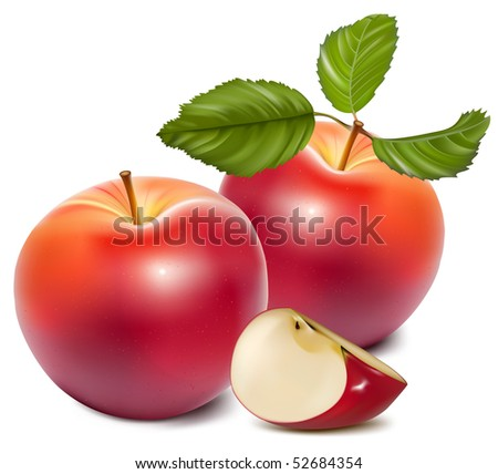 Vector. Ripe red apples with green leaves. - stock vector