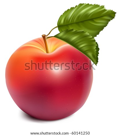 Vector. Ripe red apples with green leaves.