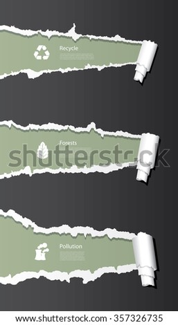 Vector ripped paper background with eco icons.