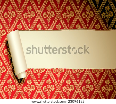 Vector ripped paper with a baroque background - stock vector