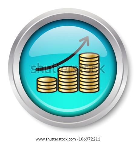 Vector Rising Gold Coins Icon Glossy Metallic Button. EPS10. - stock vector