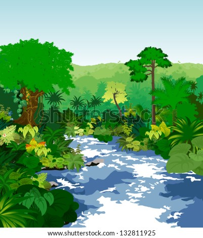 Vector River in Jungle Rainforest - stock vector