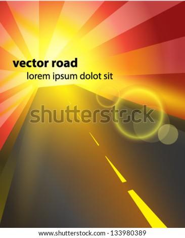 Vector road background - stock vector