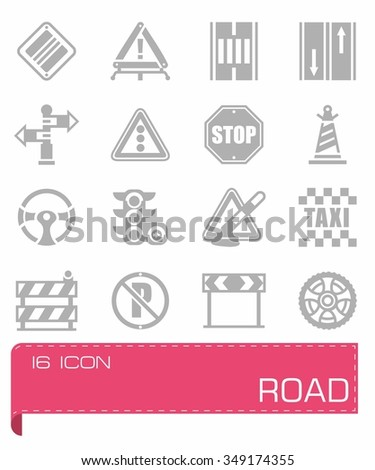 Vector Road icon set on grey background